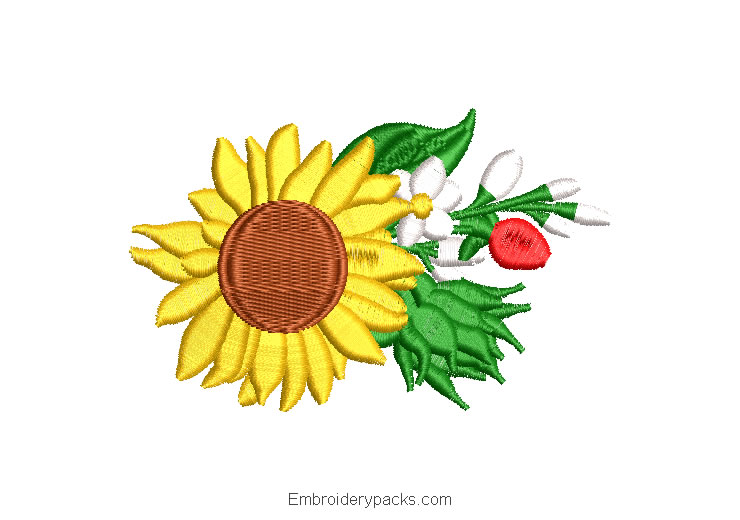 Embroidered Design of Sunflowers with Green Leaves