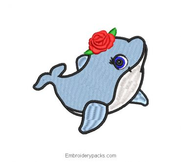 Embroidered Dolphin Design with Rose Flowers