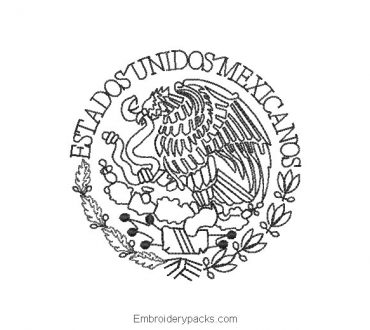 Embroidered Eagle of National Shield of Mexico Outlined