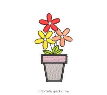 Embroidered Flower Pot Design