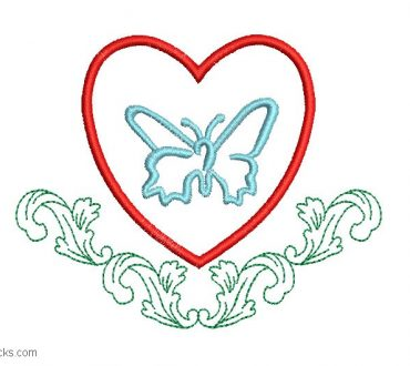 Embroidered Heart Design with Butterfly