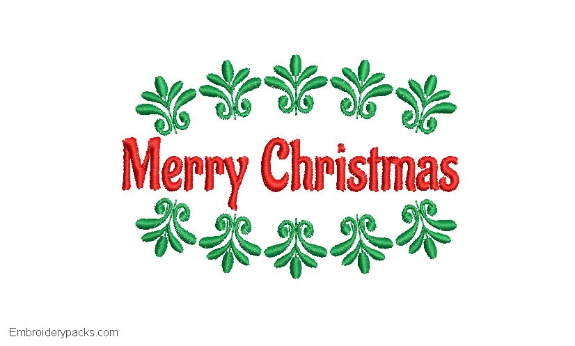 Embroidered Merry Christmas design with leaves