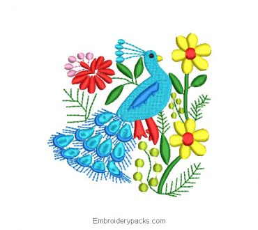 Embroidered Peacock Design with Flowers