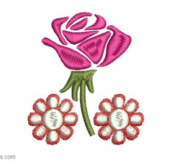 Embroidered Rose Design with Flowers