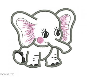 Embroidered baby elephant design