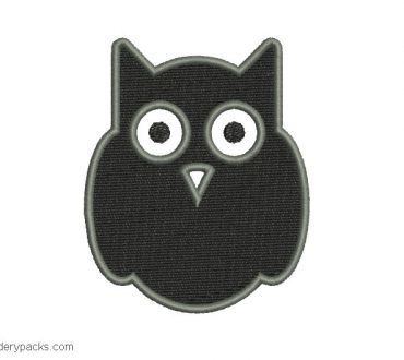 Embroidered black owl design for machine