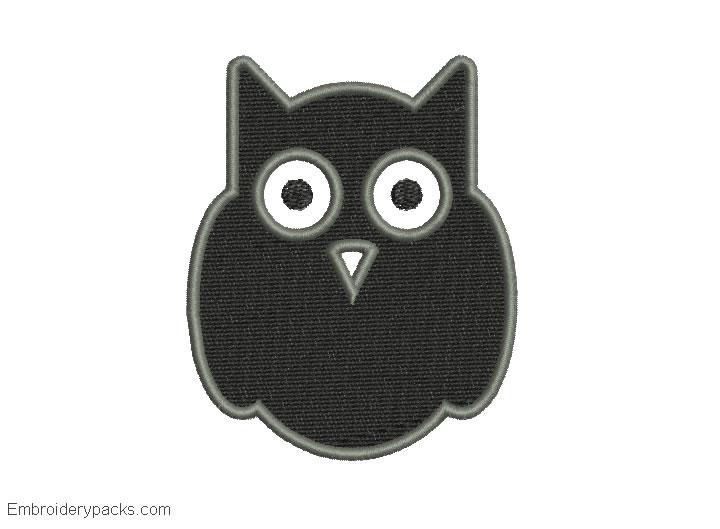 Embroidered black owl design for machine