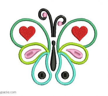 Embroidered butterfly design with decoration