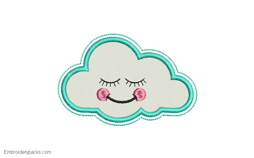 Embroidered cloud design with application