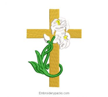 Embroidered cross design adorned with plants