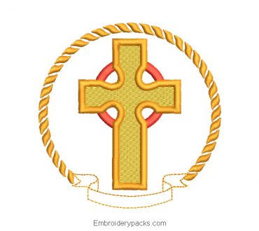 Embroidered cross design in frame