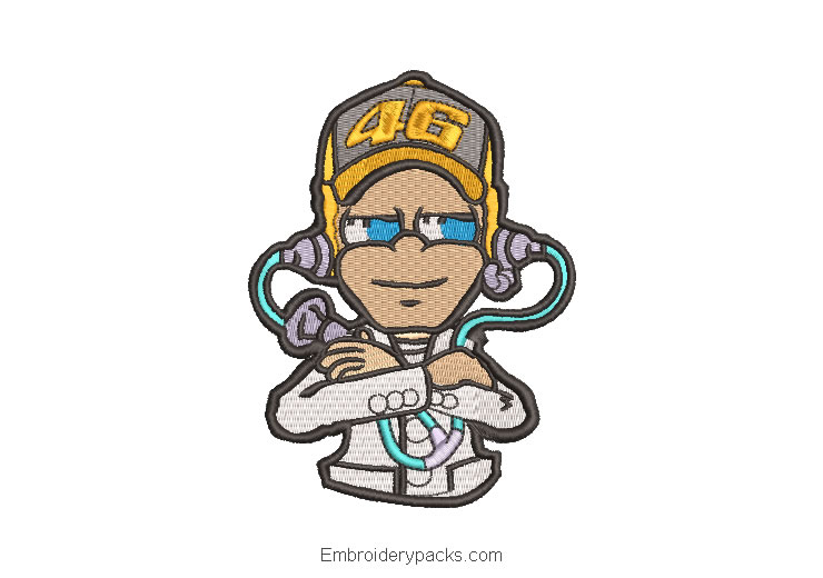 Embroidered design DJ characters with headphones
