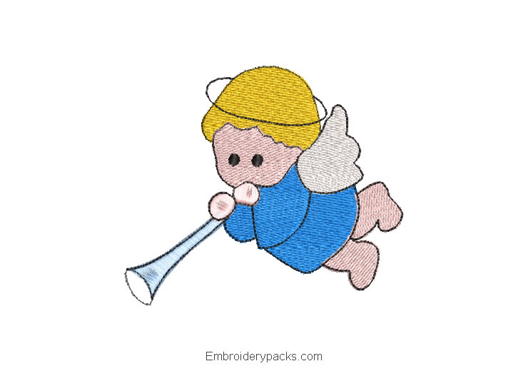 Embroidered design baby angel with trumpet