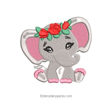 Embroidered design baby elephant with crown of roses