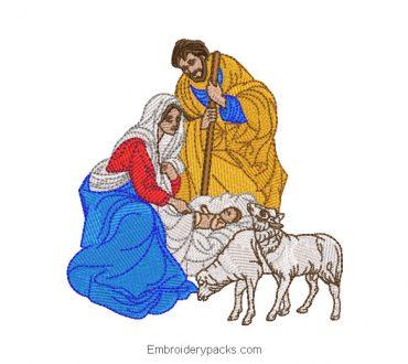 Embroidered design birth of baby jesus