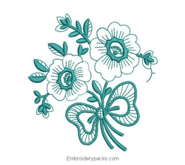 Embroidered design bouquet of flowers with leaves