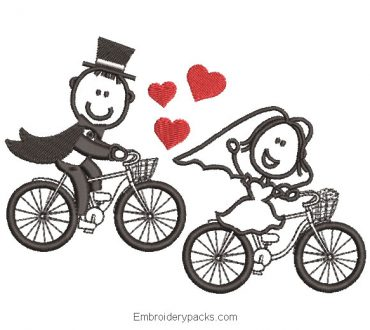 Embroidered design bride and groom on bicycle