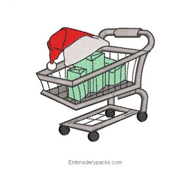 Embroidered design cart with christmas gifts