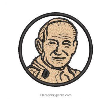 Embroidered design face of Juan Pablo Segundo