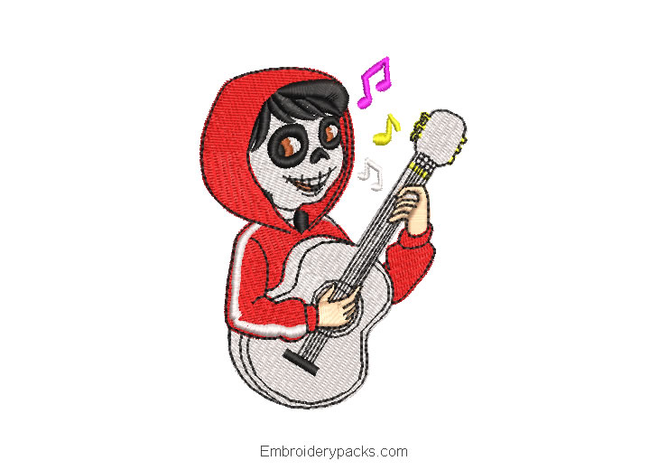 Embroidered design miguel with guitar coco