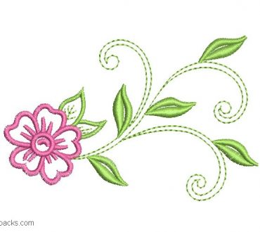 Embroidered design of Flowers with Branch