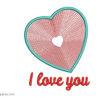 mbroidered Heart with Phrase I Love You Free
