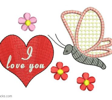 Embroidered design of I love you in heart
