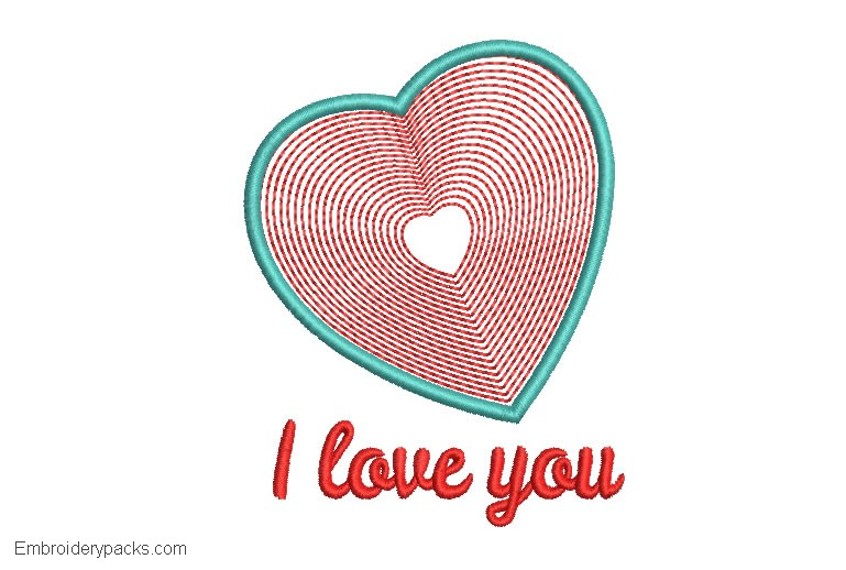 Embroidered design of I love you