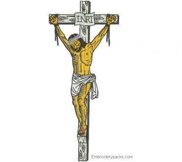 Embroidered design of Jesus crucified