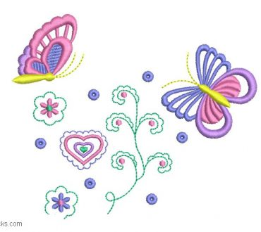 Embroidered design of butterfly and hearts