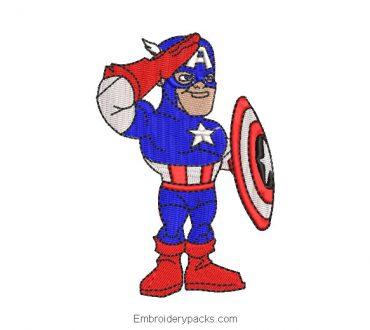 Embroidered design of captain america child