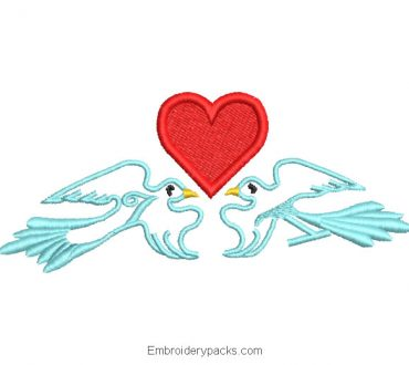 Embroidered design of doves with heart in the middle