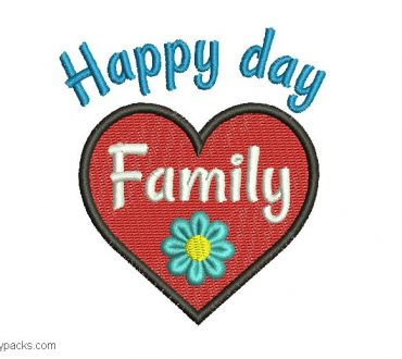 Embroidered design of happy family day
