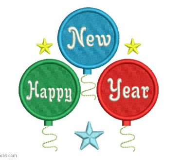 Embroidered design of happy new year