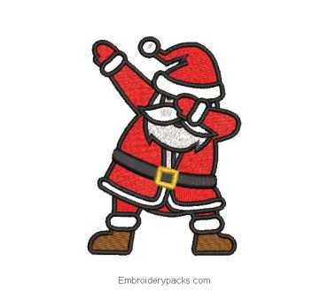 Embroidered design of santa claus dancing
