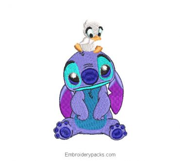 Embroidered design of stitch with duck