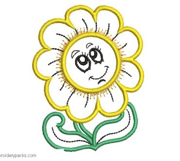 Embroidered design of sunflower for machine