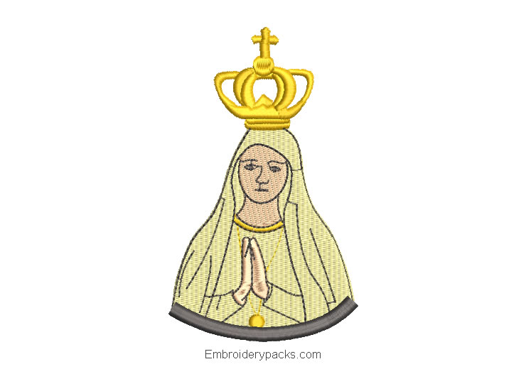 Embroidered design of virgin mary praying