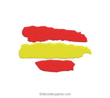 Embroidered design spanish flag sticker stains