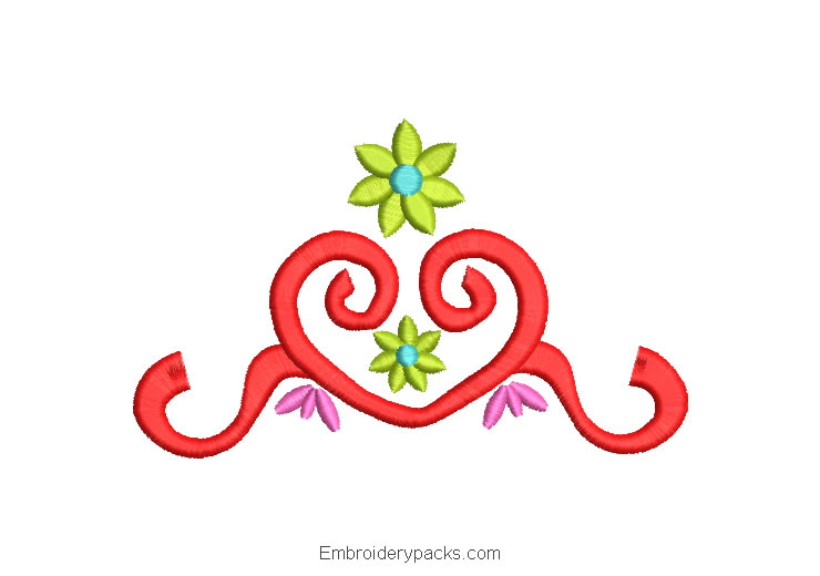 Embroidered floral ornaments design