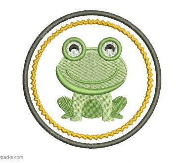 Embroidered frog design for embroidery