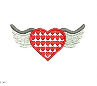 Embroidered heart design with wings 1