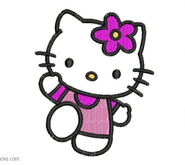 Embroidered hello kitty design