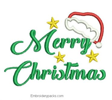 Embroidered letter Merry Christmas design with star