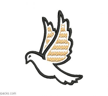 Embroidered pigeon design with decoration