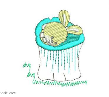 Embroidered rabbit sleeping design