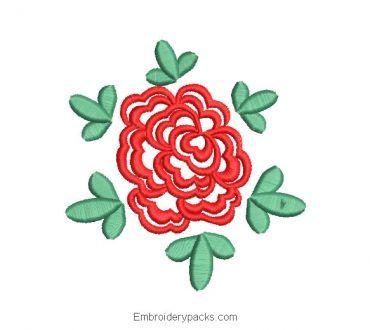 Embroidered rose design with leaf decoration