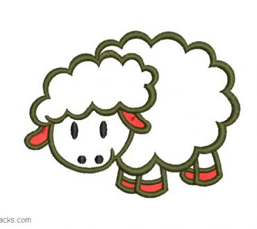 Embroidered sheep design with decoration