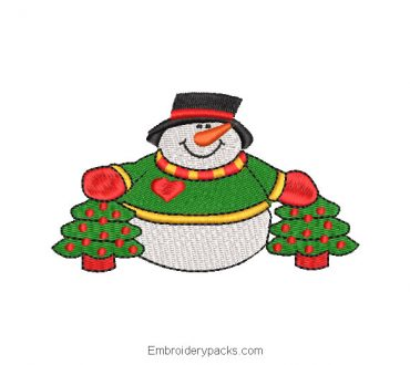 Embroidered snowman with christmas tree