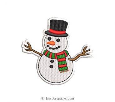 Embroidered snowman with scarf